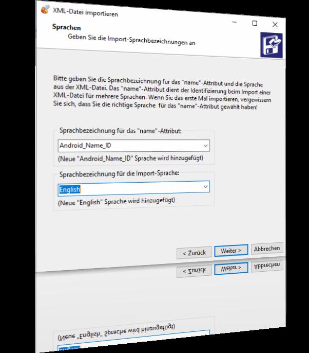 Konfigurieren von Sprachnamen zum Importieren von Android SDK-Lokalisierungs-XML