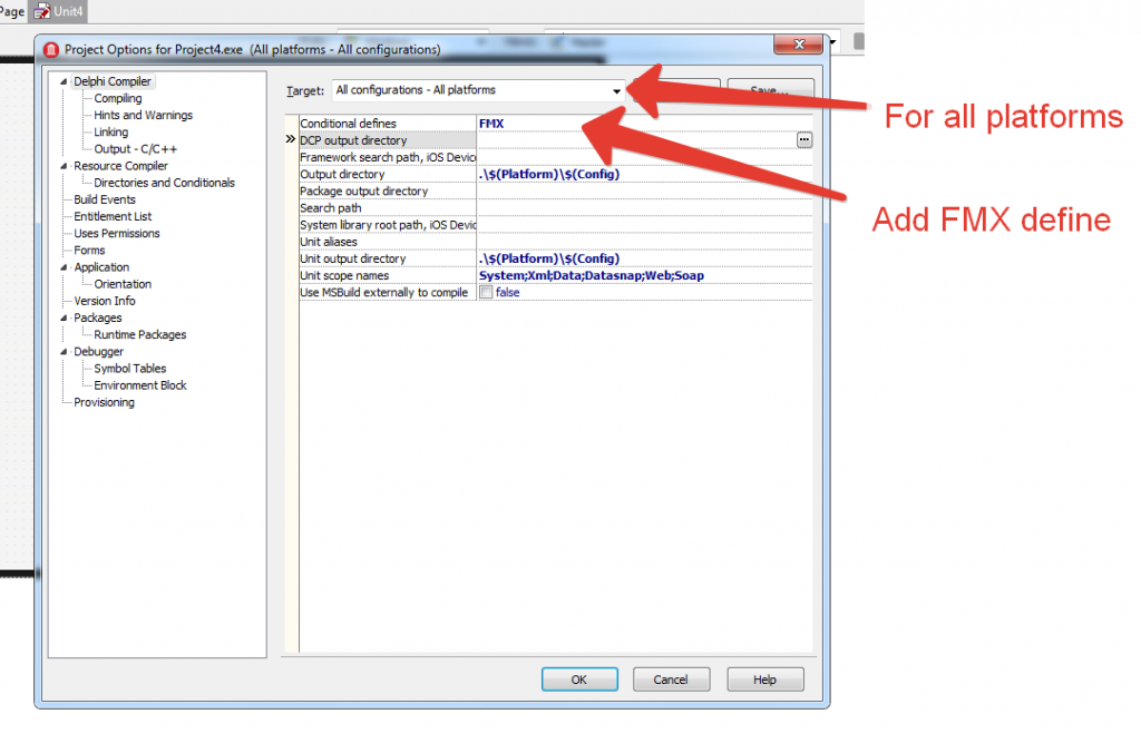 Add FMX define in Project's Options