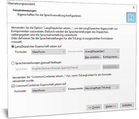 Übersetzungsassistent. Schritt 2